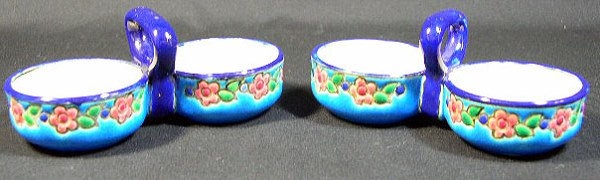 17: Pair of Longwy France Enameled Condiment Holders. M