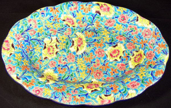 19: Longwy France Enameled Oval Vegetable Bowl. Early t
