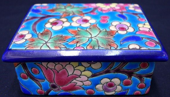 23: Longwy France Enameled Covered Box. Mid 20th Centur