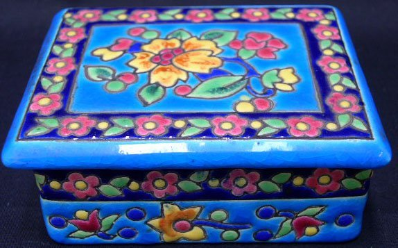 24: Longwy France Enameled Covered Box. Mid 20th Centur