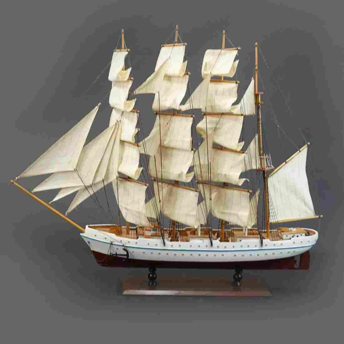 Vintage Barquentine Sailboat Model
