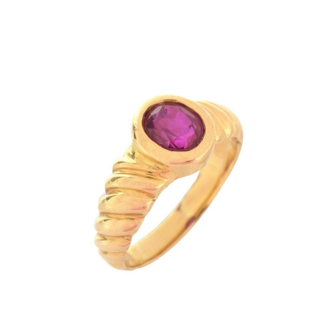 GRS Burma Ruby and 18K Ring