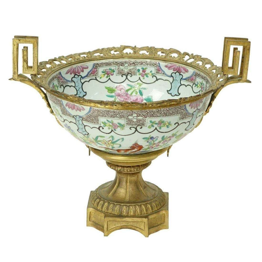 Vintage Bronze Mounted Chinese Porcelain Bowl