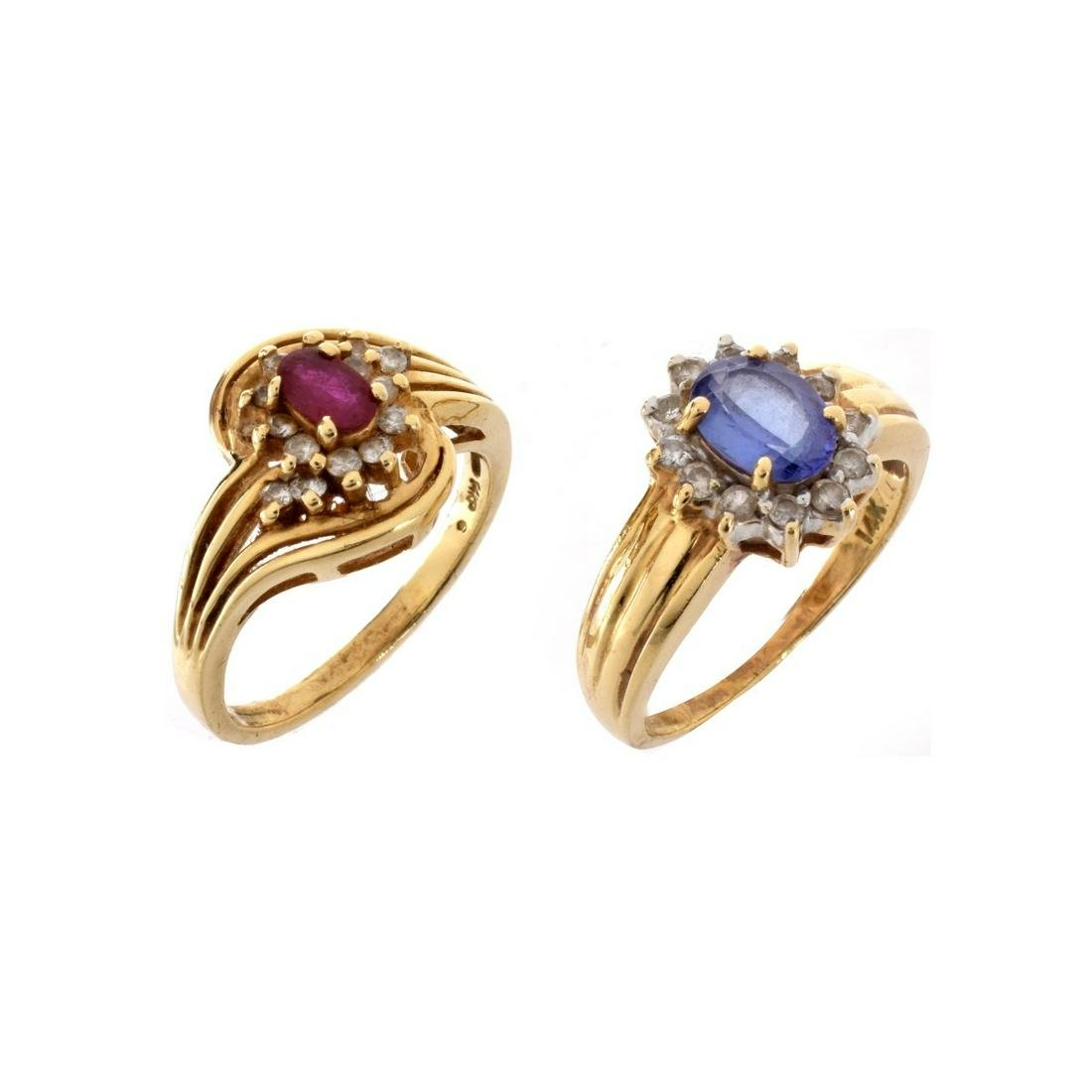 Two Gemstone and 14K Rings