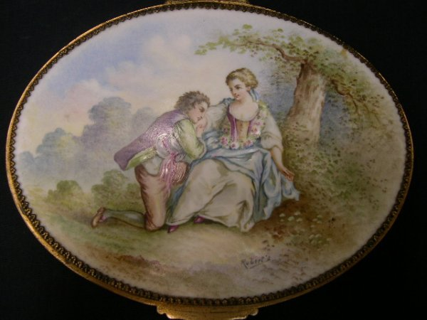 2: French Bronze Box w/ HP Enameled Porcelain Plaque To
