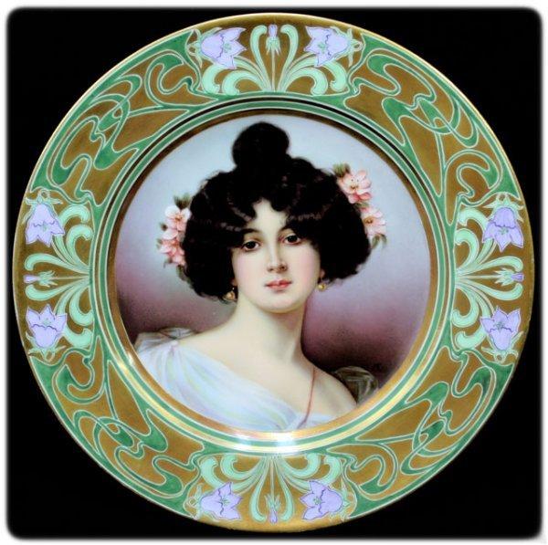 """4: Antique Royal Vienna Porcelain Portrait Plate """"Art N"""