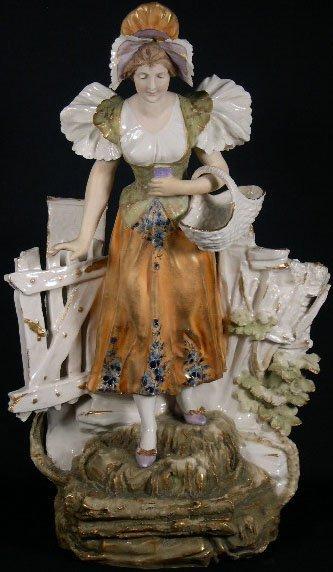 5: Art Nouveau Amphora Austria Figural Vase. Circa 1900