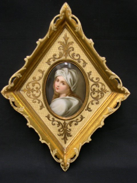 """6: Italian Porcelain Plaque of """"Young Beauty with Turba"""