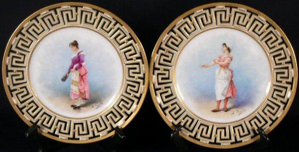 7: 19/20C Paris Porcelain Portrait Plates w/ Reticulate