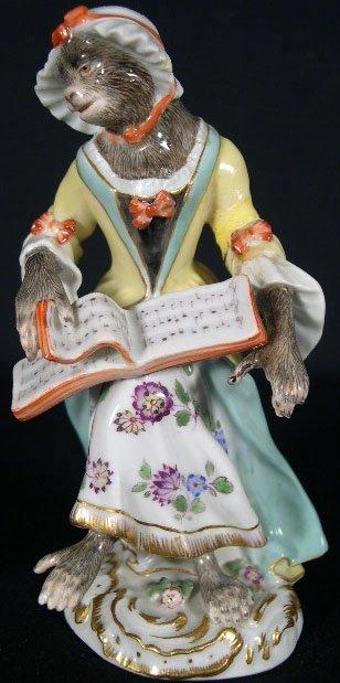 12: 19C Meissen Porcelain Monkey Band Member. Signed Bl