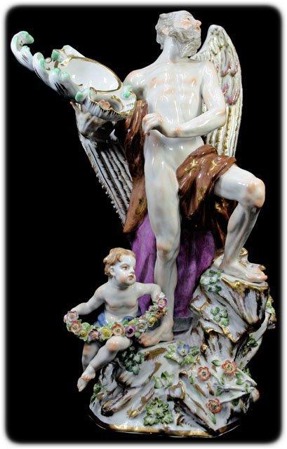 13: 19C HP Meissen Porcelain Group Angel Signed Blue Un