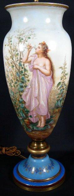 14: 19C HP Sevres Porcelain Urn Bronze Mounts. Beautifu