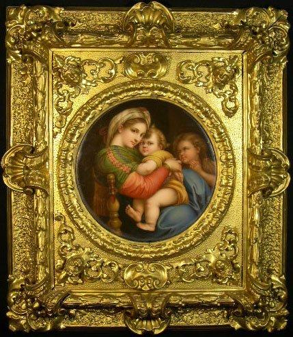 """15: Antique KPM Style Porcelain Plaque of """"Madonna of t"""