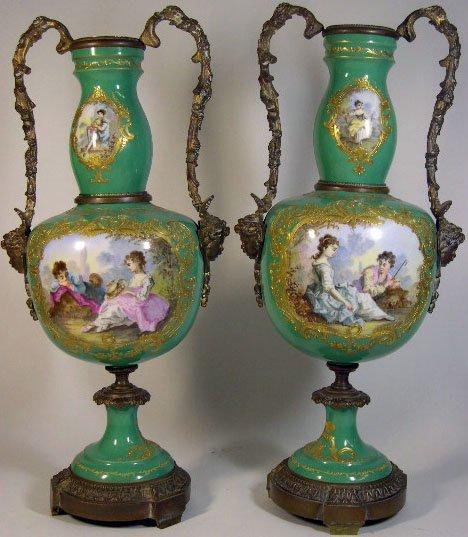 16: Pair of 19C Sevres Porcelain Urns w/ Bronze Mounts