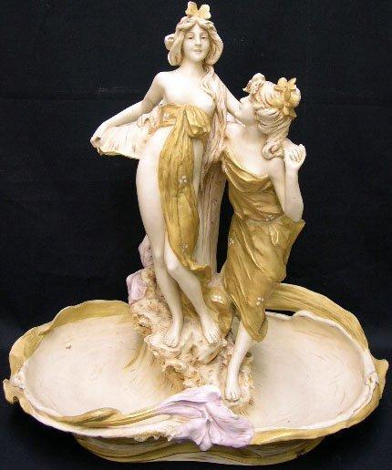 17: Royal Dux Art Nouveau Porcelain Figural Group of a