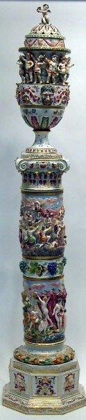 19: Monumental 19C Capodimonte Porcelain Urn on Stand.