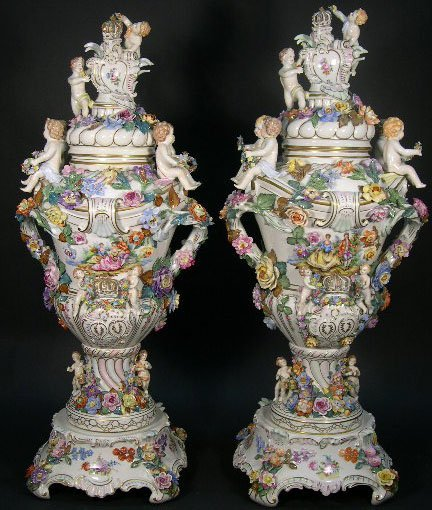 21: Impressive Pair 20C Dresden Germany Covered Urns w/