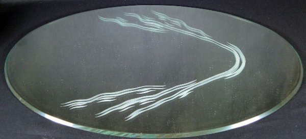 23: Lalique France Single Swan Mirror. Unsigned. Good t