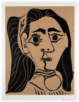 "164: Pablo Picasso Spanish (1881-1973) Linocut ""Femme a"