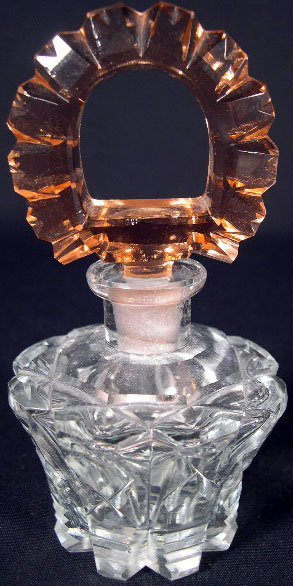 511: Vintage Czech Cut Crystal Perfume Bottle with Stop