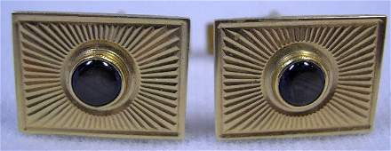 546 Pair of Vintage 14K Yellow Gold and Black Star Sap