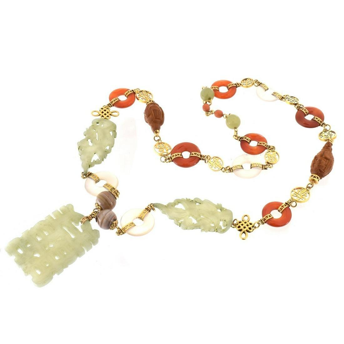 Chinese Hardstone, 14K Necklace