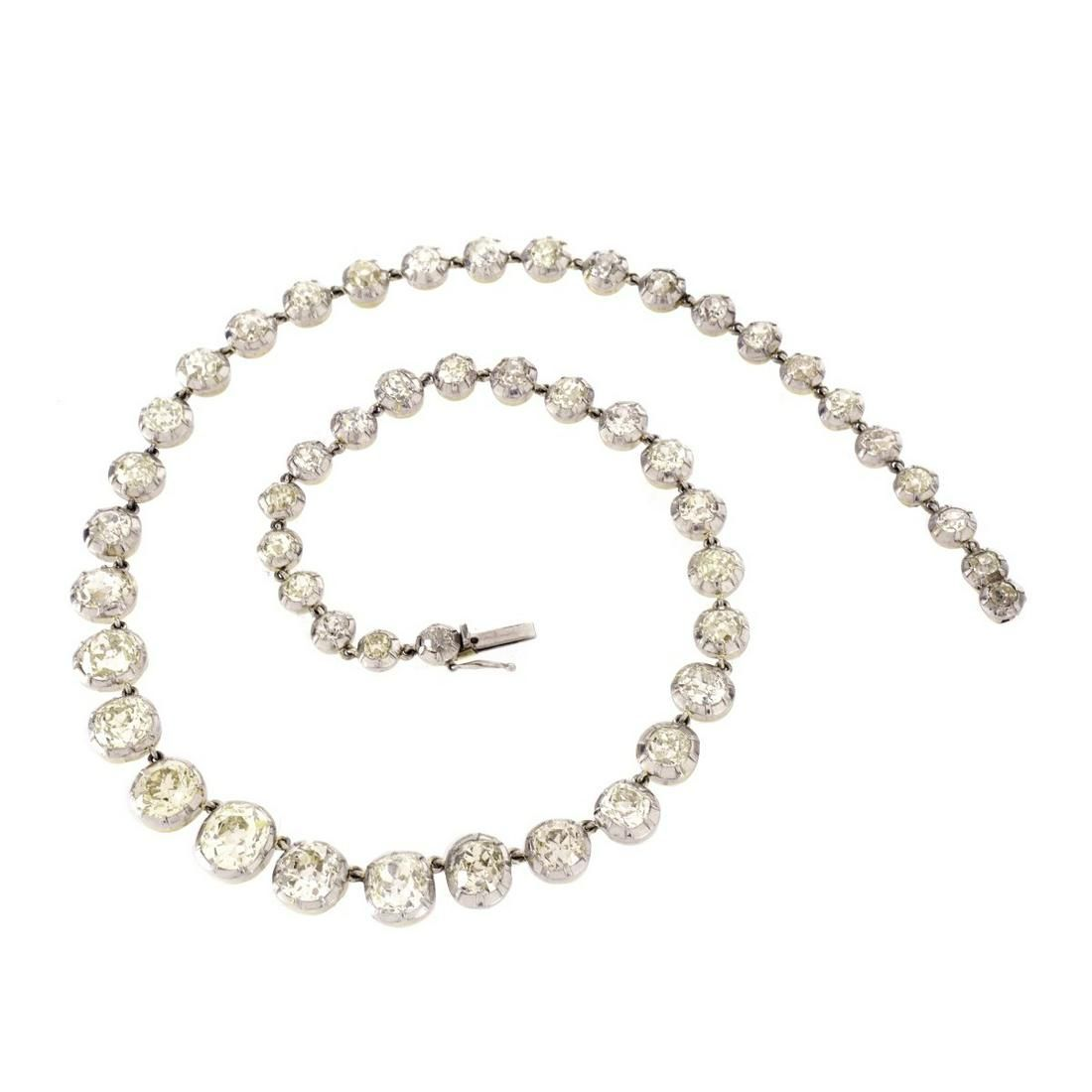 Diamond, Platinum and 18K Tennis Necklace