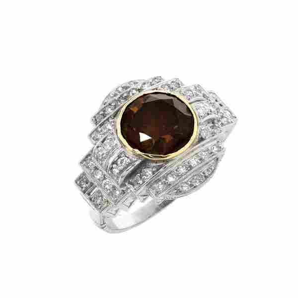 GIA Art Deco Fancy Diamond and Platinum Ring
