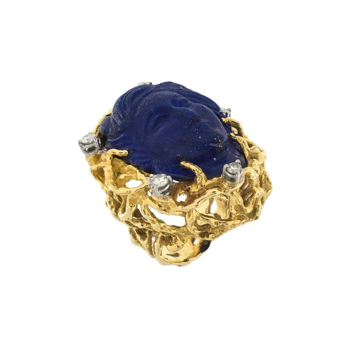 Lapis Lazuli, Diamond and 14K Ring