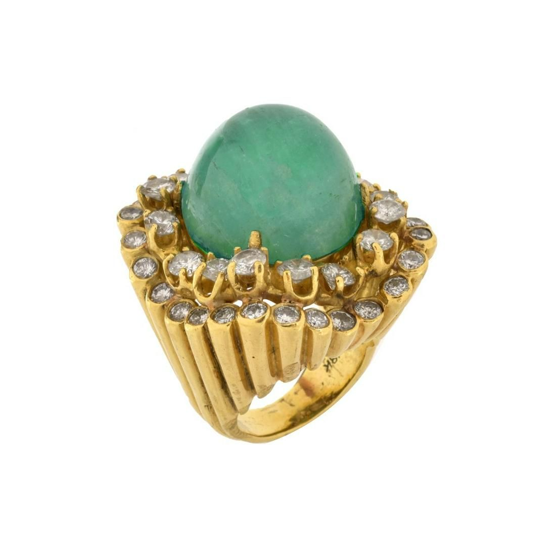 Emerald, Diamond and 18K Ring