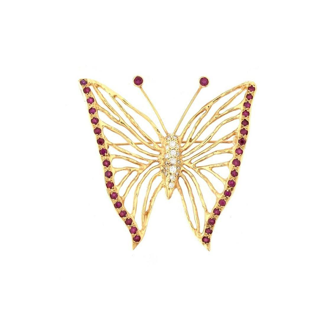 Vintage Ruby, Diamond and 14K Brooch