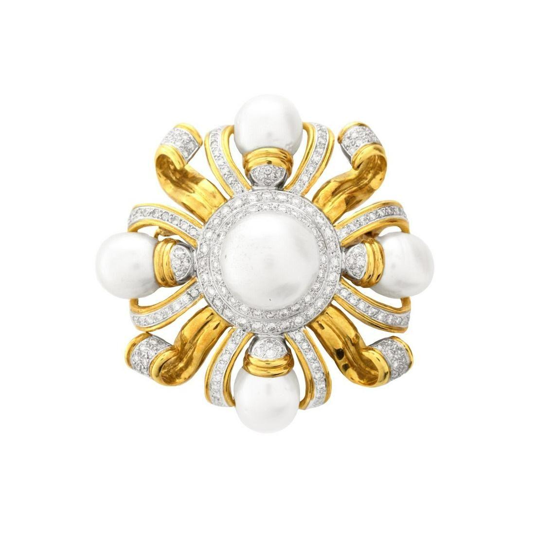 Vintage Diamond, Pearl and 18K Pendant/Brooch