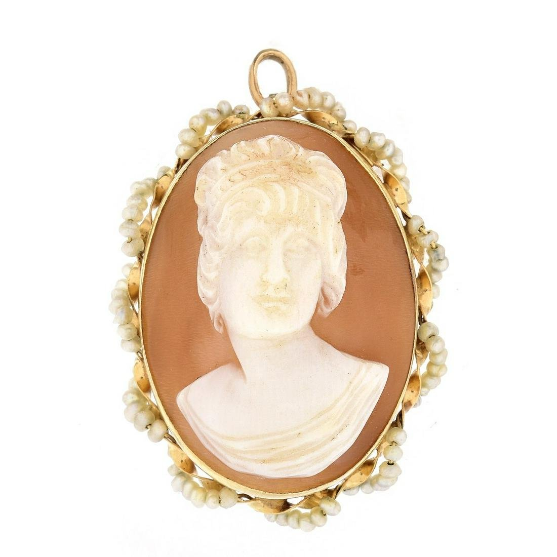 14K Gold and Seed Pearl Cameo Pendant Brooch