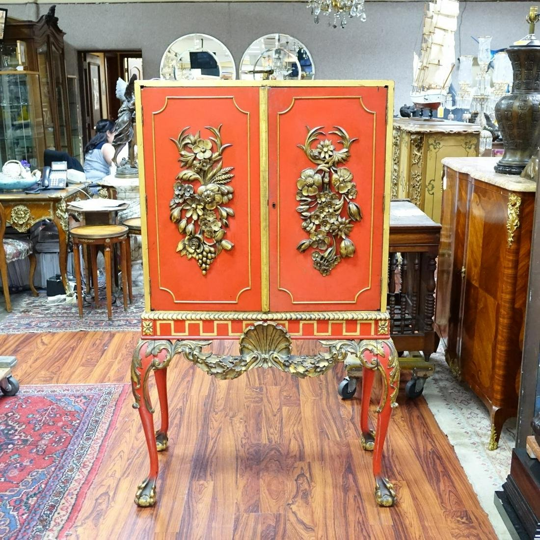 Mid 20th C. Red lacquer and Gilt Painted Cabinet
