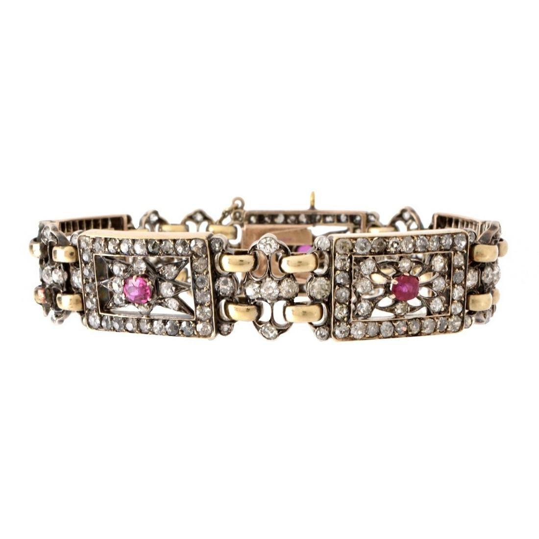 Diamond, Ruby, 18K and Silver Bracelet