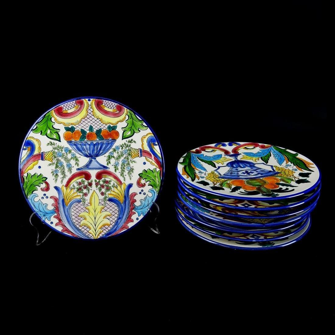 Eight (8) Mac' B French Faience Porcelain Plates