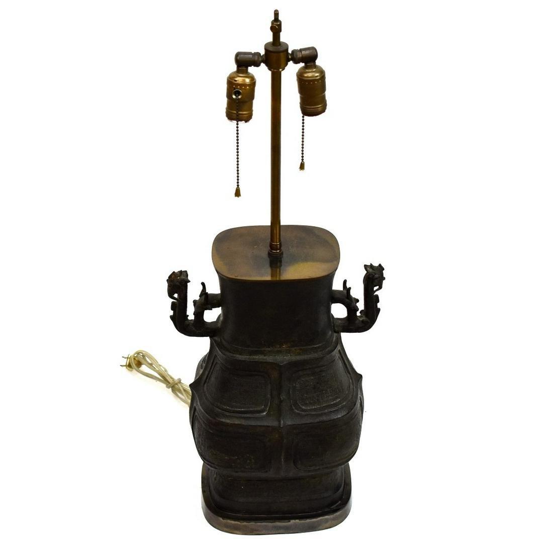 Vintage Chinese Metal Vase Mounted as a Lamp
