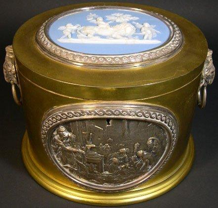 2: 19C Bronze Vanity Box w/ Copper Looking Insert Front