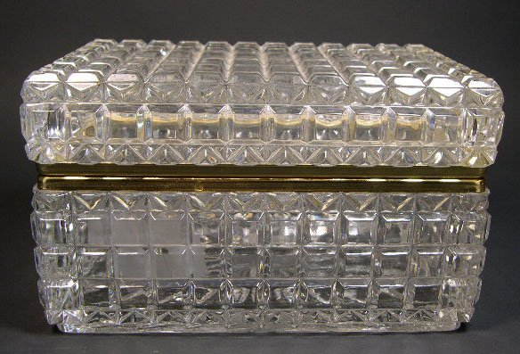 4: Early 20C French Crystal Vanity Box with Bronze Moun