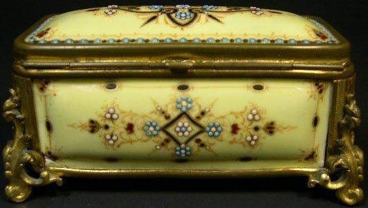 5: 19C Jeweled Porcelain & Gilt Bronze Jewelry Casket w