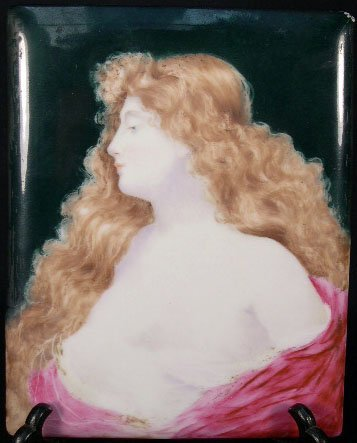 """9: Antique Style Porcelain Plaque after Wagner """"Young B"""