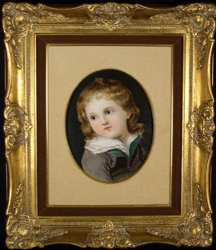 """11: 20C Hand Painted Porcelain Plaque """"Young Girl"""" Unsi"""