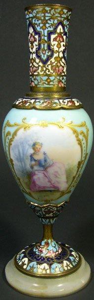 19B: 19C Sevres Gilt Bronze Champleve Enamel Vase with
