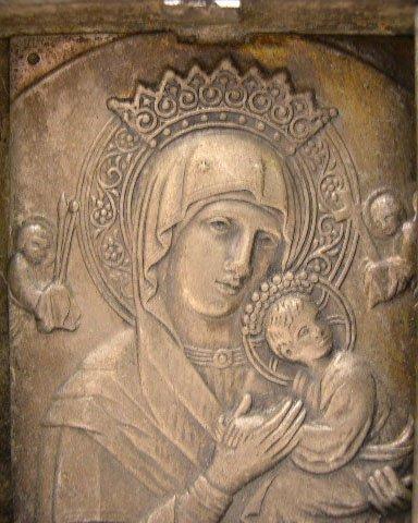 20: Rare 19C Russian Silver Miniature Icon. Square form