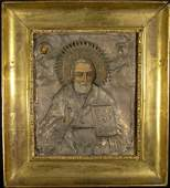 18/19C Russian Icon Silver Over Tempura Painting on