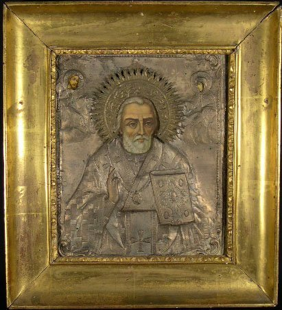 22: 18/19C Russian Icon Silver Over Tempura Painting on