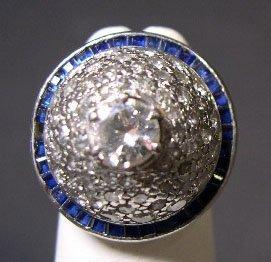 68: Art Deco Platinum Diamond & Sapphire Dome Ring