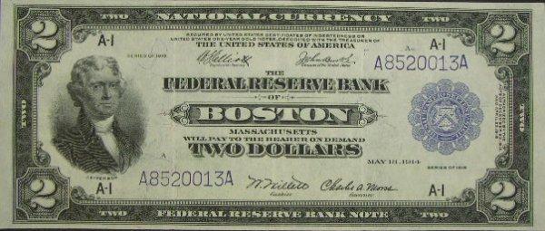 502: Series 1918 Two Dollar ($2.00) Boston Battleship U
