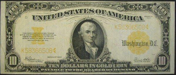 505: Series 1922 Ten Dollar ($10.00) United States Larg