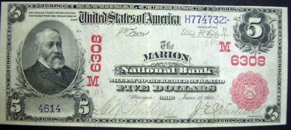 509: Series 1902 Five Dollar ($5.00) Marion National Ba